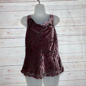 ECI NY Top Blouse Silk Velvet Paisley Cowl Size 10